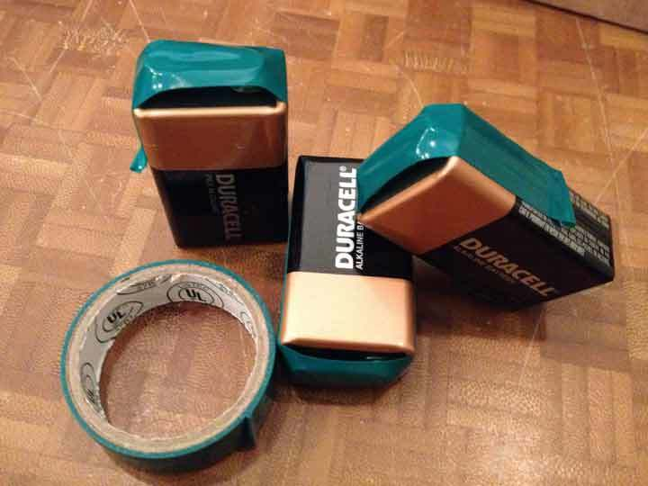 taped 9 volt battery