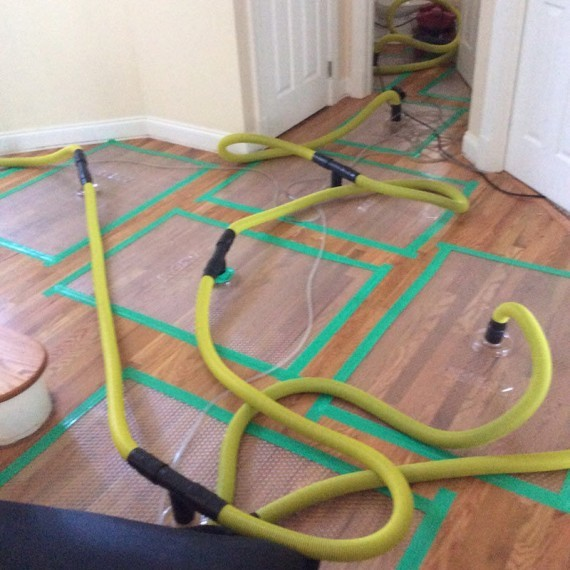 drying water damage on hardwood floor