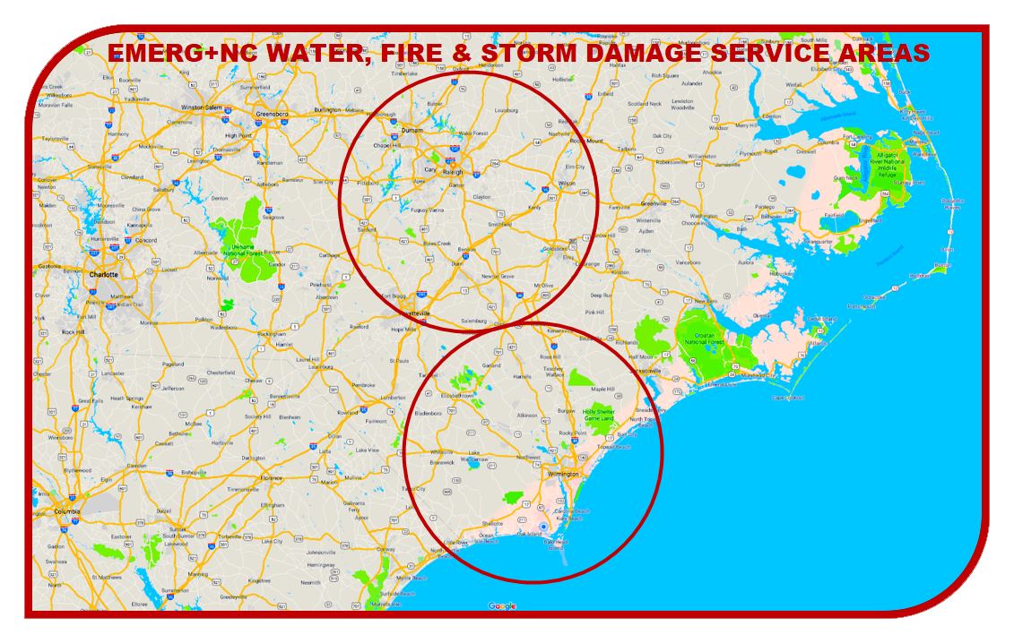 EMERG+NC Property Rescuers Service Areas for Water, Fire, Smoke and Storm Damage Mitigation, Remediation, Restoration and Reconstruction Services